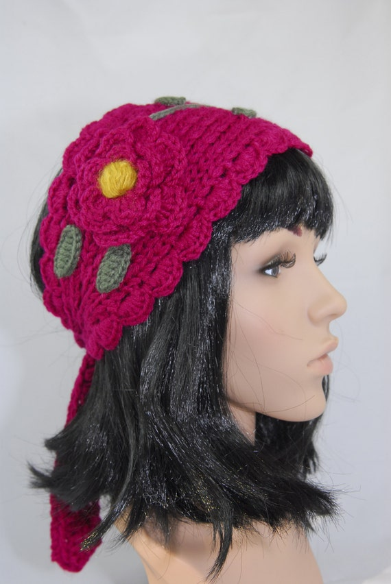 Hippie Headband Knitting Pattern : Knit And Crochet Boho Fuchsia Headband-Crochet by ...
