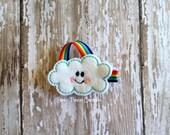 Cloud Hair Clip, Rainbow Hair Clip, Felt Cloud and Rainbow Hair Bow, Embroidered Felt Clippie, Hair Clip for Infant, Baby Toddler Girl