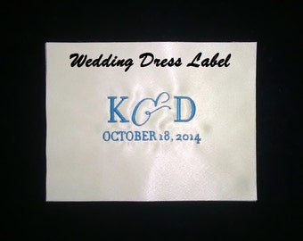 Custom Wedding Dress Embroidered Label Ivory Satin