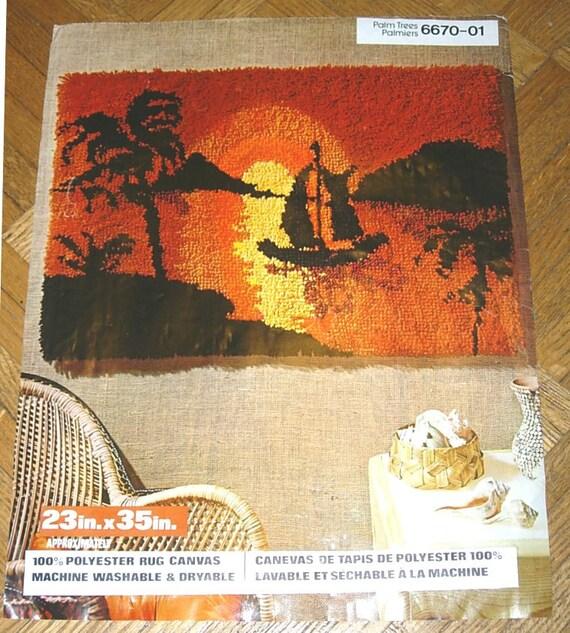 Latch Hook Rug Printed Canvas 23 X 35 Tropical