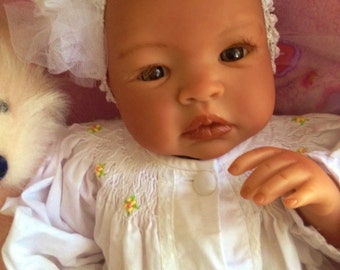 From the Biracial Shyann Kit  Reborn Baby Doll 19 inch Baby Girl Aleah Complete Baby Doll Painted Hair