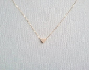 Tiny Gold Heart Necklace- 14k Gold Filled Chain, Heart Pendant/Charm, Birthday Gift, Valentines Gift,