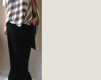 Wide  Off Shoulder Stripes Top / Stripes Shirt / Plus Size Top / Asymmetrical Tunic  / Asymmetric Kaftan / Off Shoulder Top / Maxi Blouse