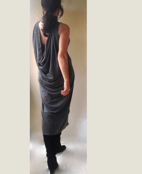 Maxi Ancient Greek Style Dress With Deep Neckline And: Draped Cut Open Back Dress / Greek Sleeveless Turtle Neck