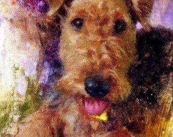 Custom Dog Portrait Oil Painting Pet Puppy Realistic Dog Art 8x10 Airedale Terrier Custom Dog Painting Painted Pet Portraits