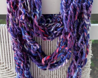 Hand Knit Bulky Cowl Scarf combo, in Purple, Pink, Blue,  and more, Super Soft Handspun Wool Yarn