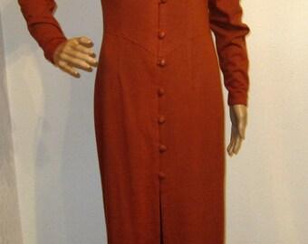 Womens Wiggle Dress Burnt Orange Mide Dress Wool Jersey Knit size 8 Vintage Vouge Designer Dress