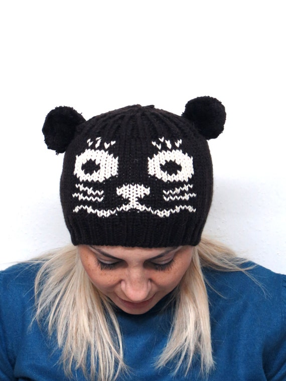 Knitting Funny Hats : Items similar to animal pattern hats cat knitting hat