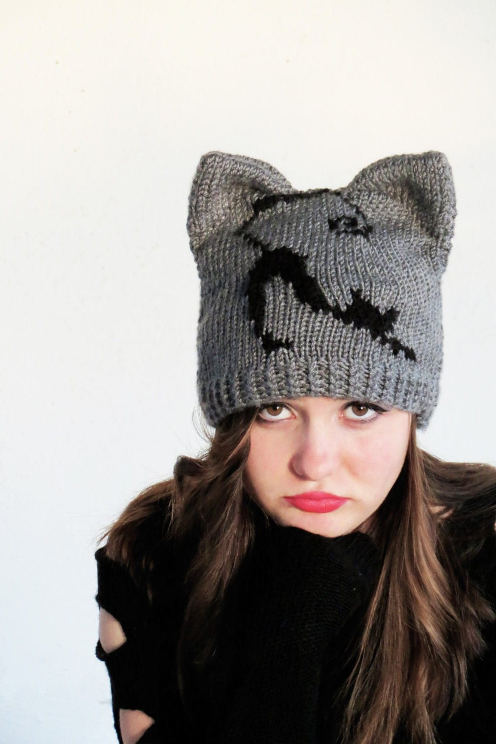 Knitting Patterns For Hats With Cat Ears : Knit Cat Ear Hat Cat Ear Beanie Gray Cat Hats by EmofoFashion