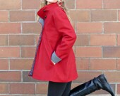Red Wool Winter Coat, Swing Coat with Black and White Polka Dot Lining, Size 12