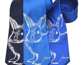 Bunny Rabbit silkscreen neckties. Microfiber screen printed tie