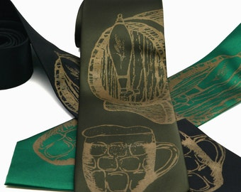 Beer Tie silkscreen neckties. Microfiber screen printed brew and ale tie