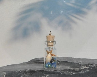 Sanibel Island Shell and Sea Glass in Miniature Bottle