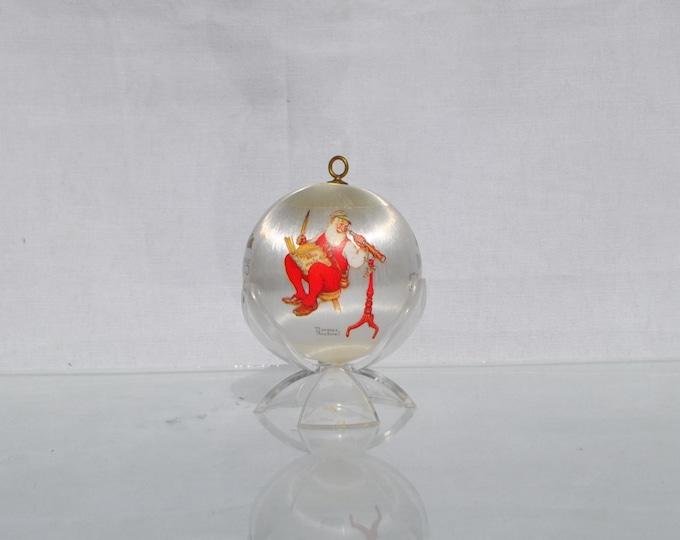 Vintage Hallmark White Satin Keepsake Ornament, Santa's Watching, Norman Rockwell Christmas Tree Ornament,1975, Hallmark Ornament, Santa