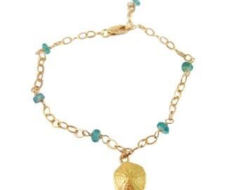 Sand Dollar Apatite Bracelet 14kt Gold Filled