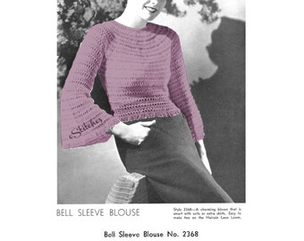 1930s Blouse with Bell Sleeves - 1 Hairpin Lace pattern PDF 2368