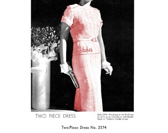 1930s Dress with Short Cuffed Blouse, Epaulets and Slim Skirt - 1 Hairpin Lace pattern PDF 2374
