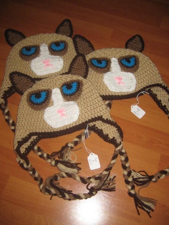 Grumpy Cat Crochet Hat Pattern Free : Grumpy Cat Crochet Handmade Ear flap Hat Mean Cat Hat