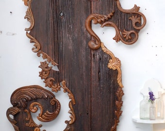 "Seahorse Wall Art Reclaimed Barn wood and Antique Wood Furniture Appliques 40"" x 25"" Decorative, Assemblage, Unique Chic, Coastal Decor"