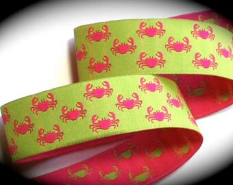 "Woven Jacquard Ribbon -1""  Paws - Green and Pink Reversible Crab"