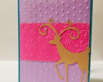 Handmade Christmas Card- Reindeer Card