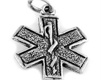 Sterling Silver Medical Paramedic Symbol Charm