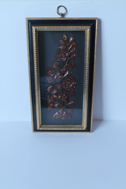 Wall Art Black Gold : Vintage s black and gold floral wall art by modstashvintage