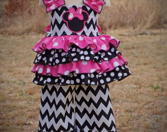 Boutique Girls Birthday Outfit Ruffle Outfit Minnie Mouse Pageant Wear Outfit of Choice Hairbow 3m 6m 9m 12m 18m 24m 2T 3T 4T 5 6 7 8