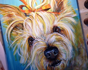 CUSTOM Pet Portrait Painting | Acrylic Canvas | Small Sizes