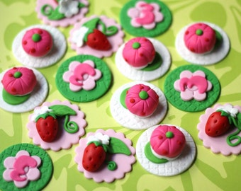 Strawberry fondant topper strawberry cake topper strawberry picnic cupcake topper