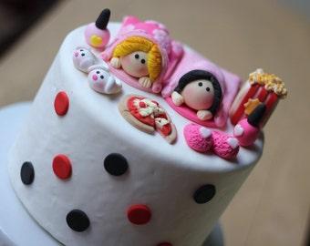 Slumber Party Fondant Cake Topper Set - Sleepover Fondant Cake Topper - Slumber Sleepover Cake topper