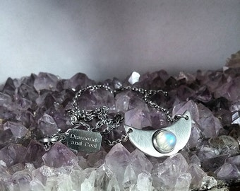 Crescent Moon Necklace - Rainbow Moonstone Stainless Steel