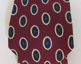 Vintage 90's Ted Lapidus silk maroon and navy tie