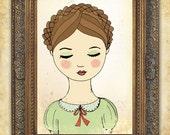 girls print, katharina, folk art, beautiful girl art print