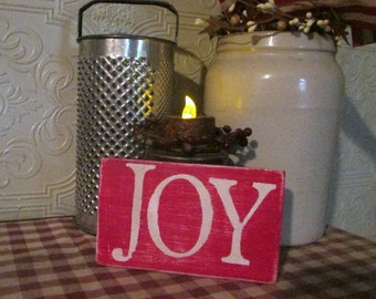 JOY Reclaimed Wood Shelf Sitter / Christmas Decor / Rustic / Primitive / Aged / Ornament