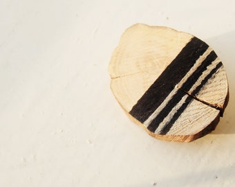 Gold and Black Wooden Brooch, geometric wood slice