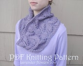 Cowl Scarf Knitting Pattern, Worsted Yarn, Jojoland Timbre, Lavender Flower, Lacy, Advanced Beginner