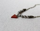 Pyrite + Jasper Necklace, Triangle Necklace, Stone Necklace, Boho Necklace, Tribal Necklace