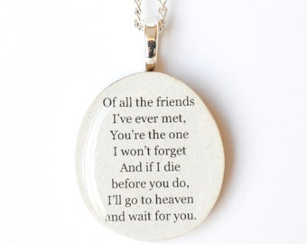 Best friend necklace personalized friend gift wood Best friend gift,  friend gift for women gift going away gift graduation gift