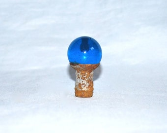 Ball Finial Sapphire Blue Glass Vintage 1950s