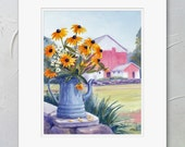 Yellow Flower Painting, Matted Watercolor Print, Black Eyed Susans, Farmhouse Cottage Decor, Barn, Farm Wall Art by Janet Zeh
