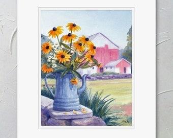 Yellow Flower Painting, Matted Watercolor Print, Black Eyed Susans, Farmhouse Cottage Decor by Janet Zeh Original Art
