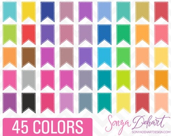 80% OFF Sale Clipart Stitched Journal Planner Flag Tabs 45 Colors Commercial Use