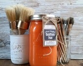 Handmade ChalkFinish Paint, Tangerine, Orange, Painted Furniture, Shabby Chic Furniture, Chalk Painted Furniture, Painted Mason Jars, Wax
