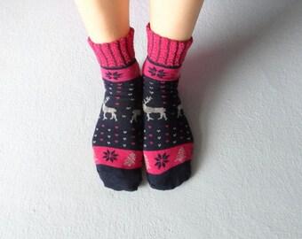 Dark Blue Women Socks Ankle Socks Boot Socks Deer Printed Socks
