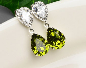 Olive Green Earrings - Swarovski Crystal Teardrop Earrings - Dark Green Swarovski Crystal Bridesmaid Jewelry - Wedding Jewelry