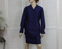 Vintage Womens Blue Silk Double Breasted Suit Size 10 P