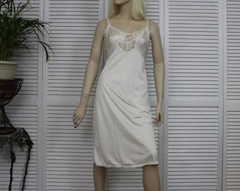 Vintage White Full Nylon Slip Size 36