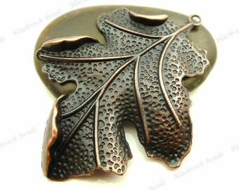 Large Leaf Pendant 67x51mm Antique Copper Tone Metal - Focal, Necklace Charm, Findings, Jewelry Supply, Ornate, Very Detailed - BF16