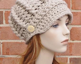 Crochet Newsboy Hat - Sand Beige Newsboy Hat - Womens Beanie Cabled Hat - Winter Accessories - Womens Newsboy Hat  // THE AVERY //